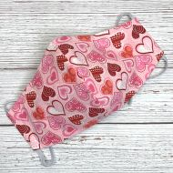 Glitter Hearts on Pink Face Mask